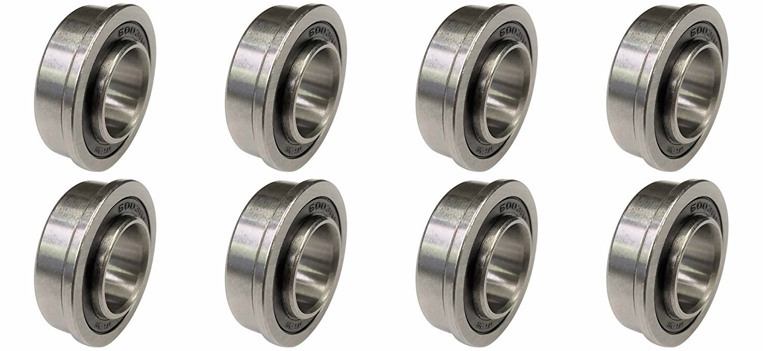 "XiKe 10 Pack Flanged Ball Bearing ID 5/8"" x OD 1-3/8"", Lawn Mower, Wheelbarrows, Carts & Hand Trucks Wheel Hub for Suitable, Replacement for Snapper, Stens, JD, Snapper, MTD, Marathon & AYP Etc."