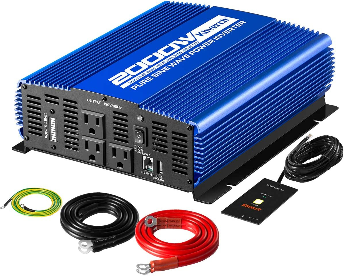 Kinverch 2000W Pure Sine Wave Power Inverter Converts12V DC to 110V AC with USB Port and Remote Control