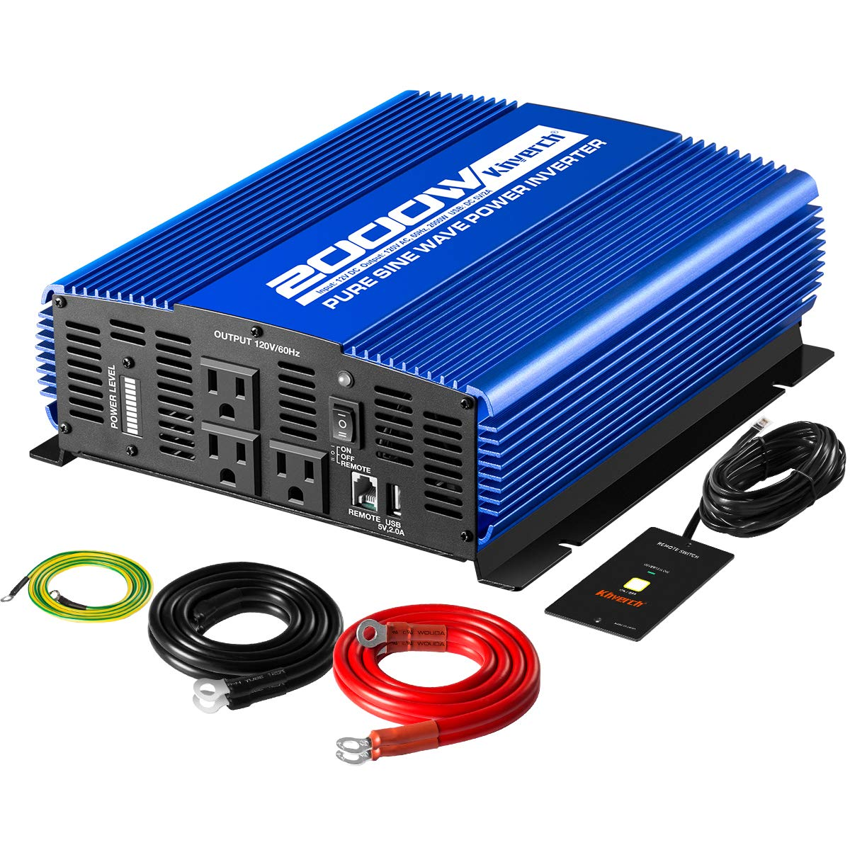 Kinverch 2000W Pure Sine Wave Power Inverter Converts 12V DC to 110V AC with USB Port and Remote Control by kinverch