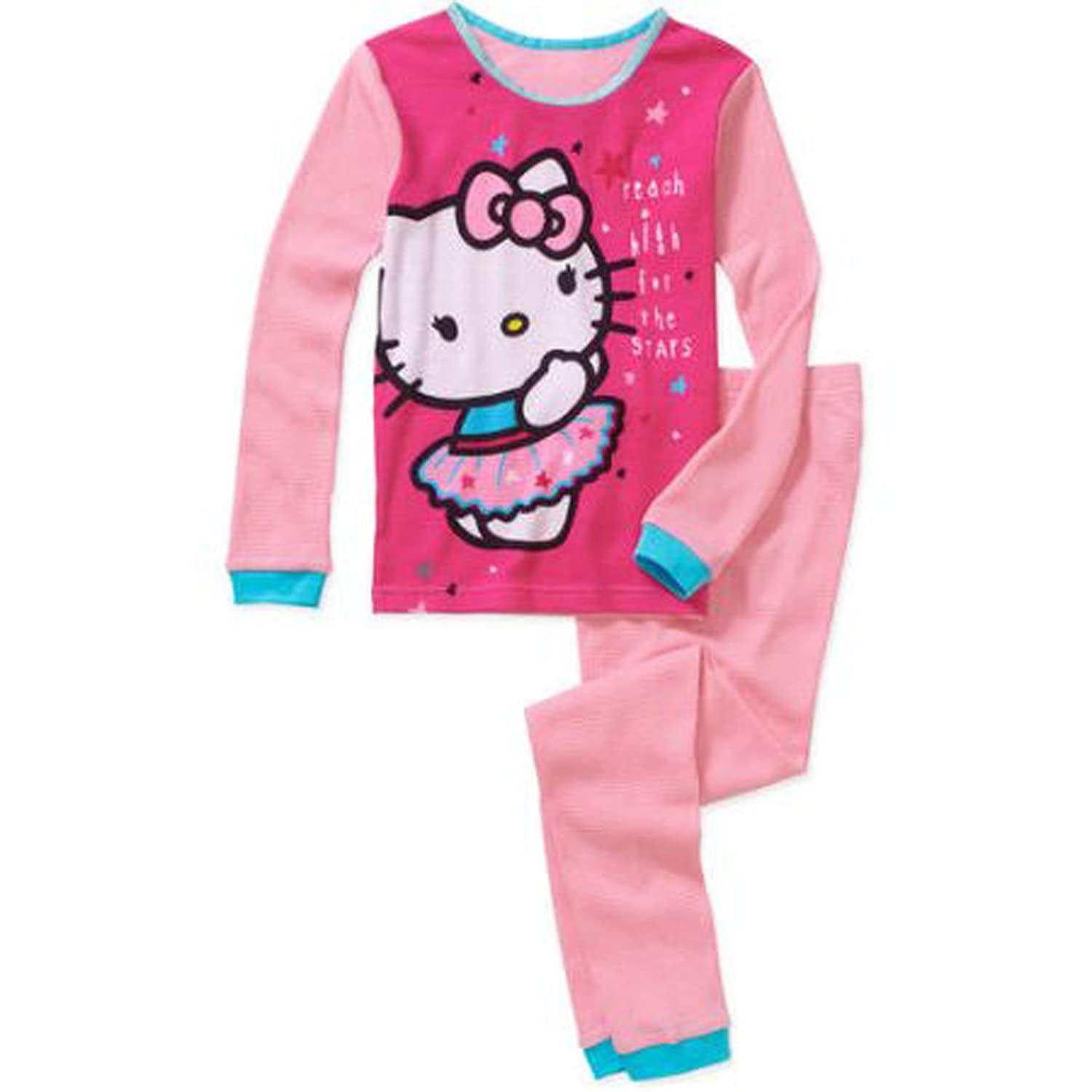 10c34894b Hello Kitty Girls Long Sleeve Cotton Thermal Underwear Pajamas Set ...