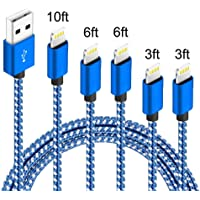 5-Pack IDiSON (3ft 3ft 6ft 6ft 10ft) iPhone Lightning Apple MFi Certified Braided Nylon Fast Charger Cable (Blue White)