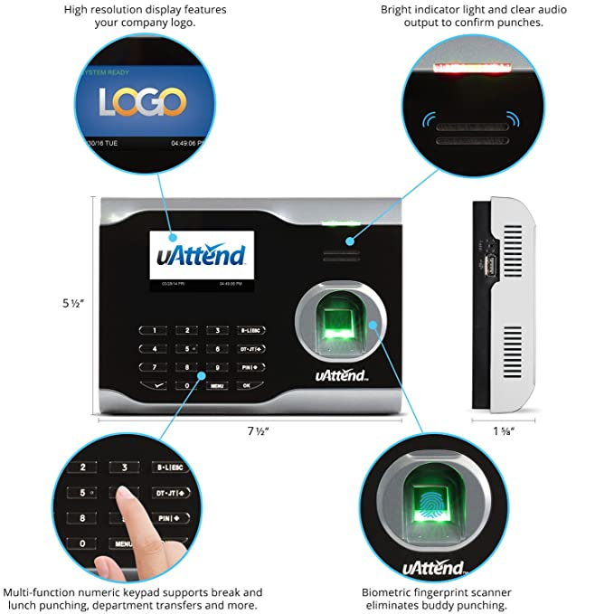 Amazon.com : uAttend BN6000 Biometric Fingerprint Time Clock : Electronics