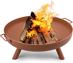 Amagabeli Fire Pit Outdoor Wood Burning Fire Bowl 28in with A Drain Hole Fireplace Extra Deep Large Round Cast Iron Outside Backyard Deck Camping Beach Heavy Duty Metal Grate Rustproof Bronze
