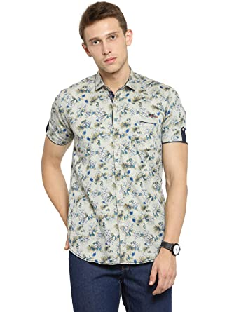d619ed7d38c Kivon Men s Beige Casual Shirts for Mens Half Sleeves Printed (Size ...
