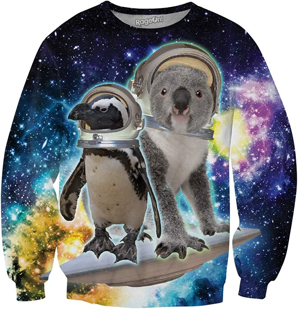 RageOn Lets Rage Space Pals Crewneck Premium All Over Print Sweatshirt