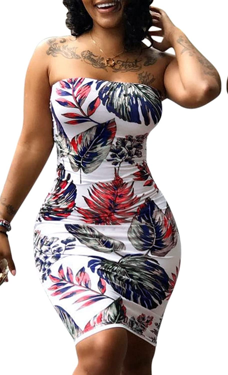 cdca298eaaf1 Bodycon Dress, Tube tops, floral palm leaf pattern printed, slim bodycon  figure, pull on closure, plus size. Smock chest sun dress