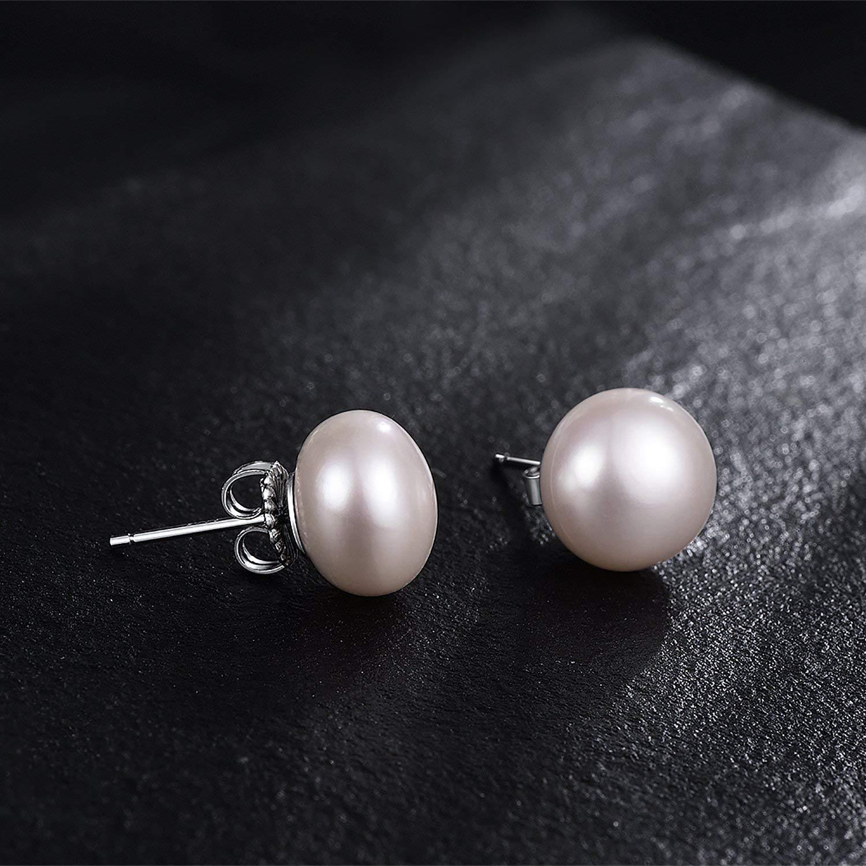 Pendientes de tuerca de plata de ley 925, 9 – 9,5 mm, perlas cultivadas en agua dulce, para mujeres y niñas