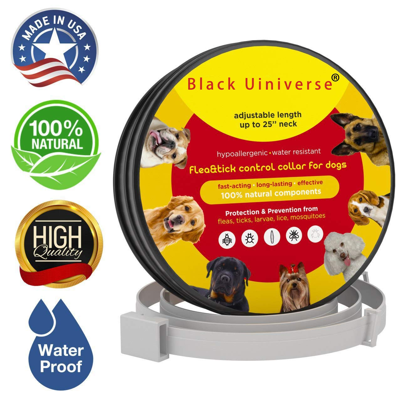 ZJH Flea and Tick Collar for Large Dogs, Waterproof Protection and Adjustable Best Flea Collar Fits All Dogs and Cats