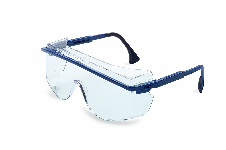 Uvex S2510 Astrospec OTG 3001 Safety Eyewear Blue Frame Clear Ultra-Dura Hardcoat Lens
