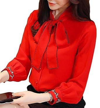 83cf141845cf ONTBYB Women's Slim Bow Tie Neck Long Sleeve Dressy Shirts Blouse Tops Red  XXS