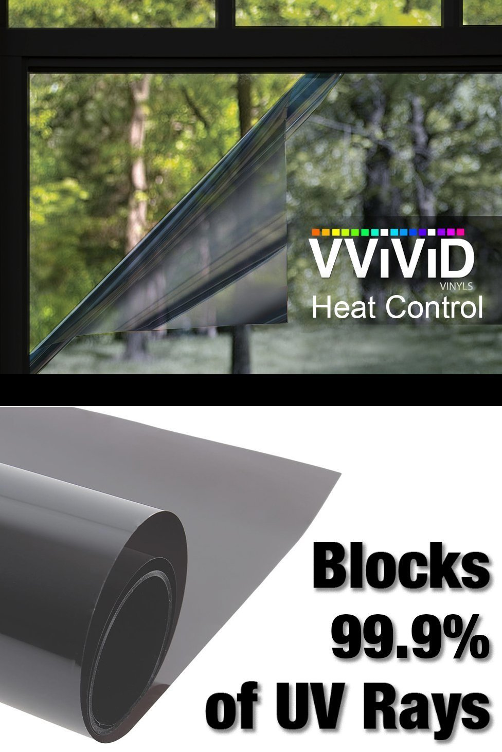 Heat Control 99% Anti UV Residential Vinyl Wrap 6.5ft x 60'Large Window Dark Shade Tint Roll Home Office Climate Control VViViD