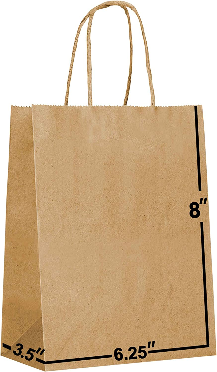 100 Packs-Brown Kraft Paper Gift Bags Bulk with Handles 6.25x3.5x8. Ideal for Shopping, Packaging, Retail, Party, Craft, Gifts, Wedding, Recycled, Business, Goody and Merchandise Bag