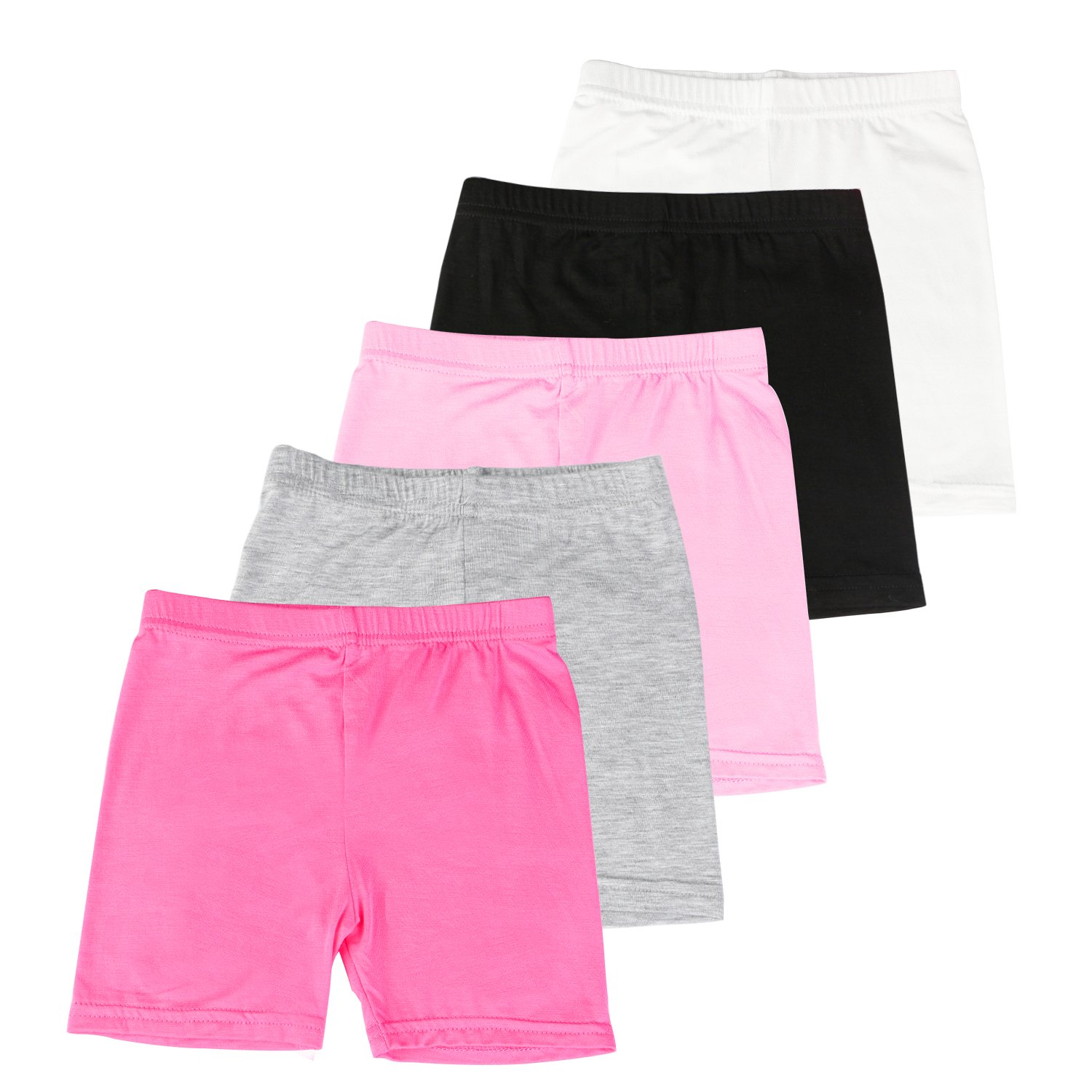BOOPH Girls Dance Short, 5 Pack Assorted Color Bike Shorts for Girls 3-4 Year Old