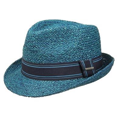 3889d1a7 Lenoir Raffia Trilby Stetson straw trilby women´s hat (XL/60-61 - petrol  blue): Amazon.co.uk: Clothing