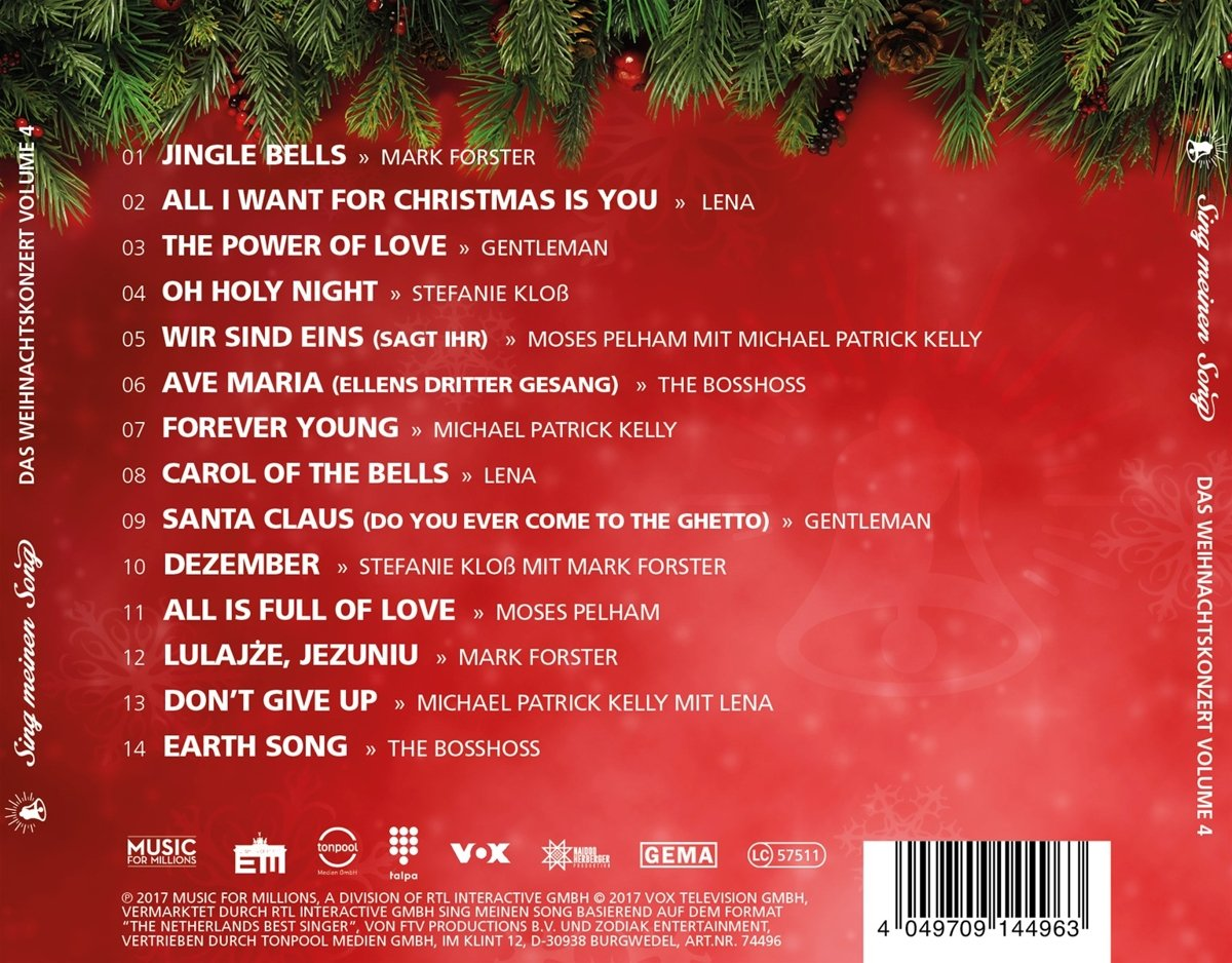 Sing Meinen Song - Das Weihnachtskonzert Vol. 4 - Various: Amazon.de ...