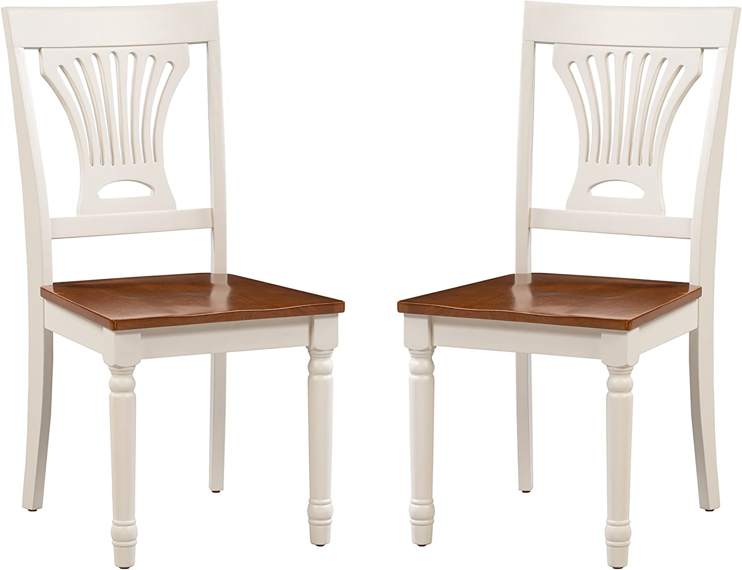 Trithi Furniture – Portland Solid Wood White and Cherry Seat Chairs, Set of 2