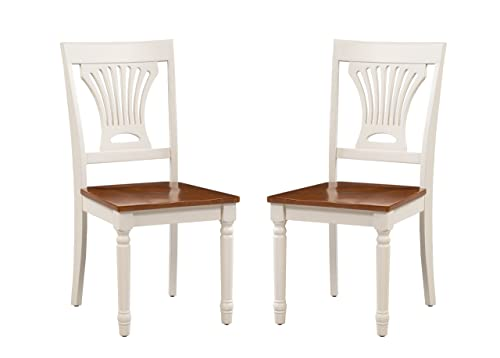 Trithi Furniture - Portland Solid Wood White and Cherry Seat Chairs, Set of 2