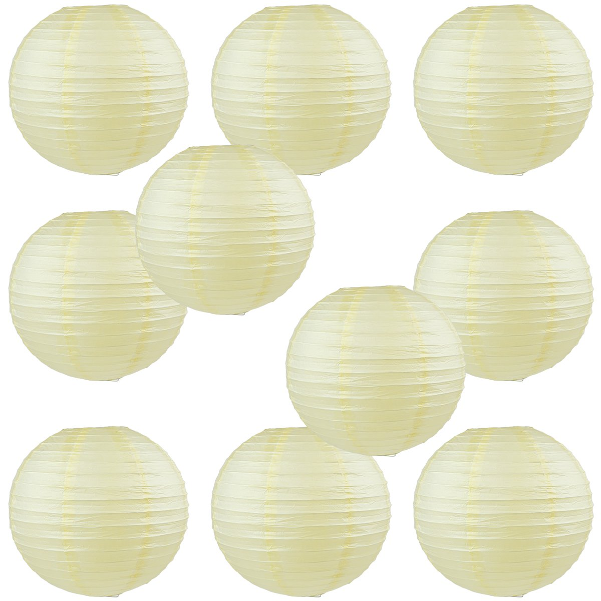 WYZworks Round Paper Lanterns 10 Pack (Ivory Cream, 10'') - with 8'', 10'', 12'', 14'', 16'' option