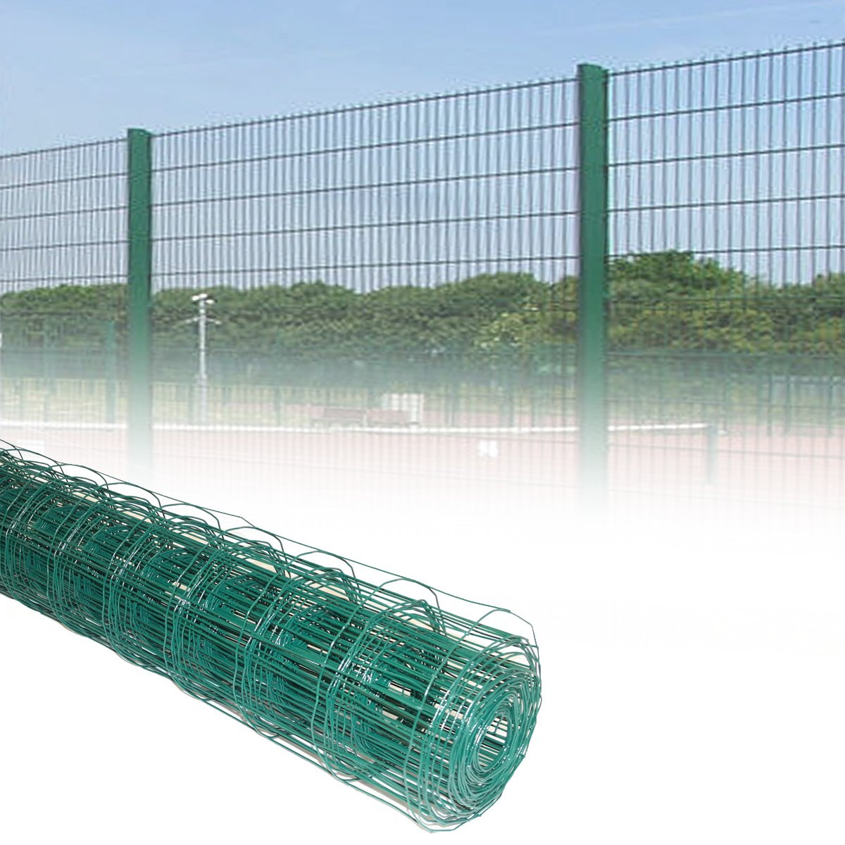 20M x 0.6M Rolls Green PVC Coated Steel Mesh Fencing Wire Garden ...