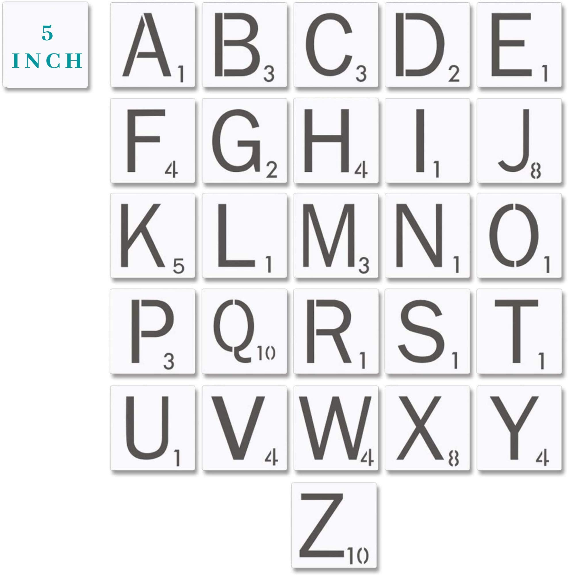 """Scrabble Style Stencil Alphabet Large Letter Stencils - 5 Inch 18 Mil Mylar Stencil Template for Tile Wall Decor Art   5x5 INCH Stencil   3.75"""" INCH Letters   Thick, Durable, and Multi-Use"""