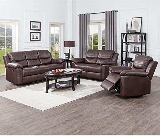 JUNTOSO 3 Pieces Recliner Sofa Sets Bonded Leather Lounge Chair Loveseat Reclining Couch for Living Room – Chocolate