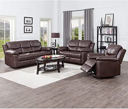 Juntoso 3 Pieces Recliner Sofa Sets Bonded Leather Lounge Chair Loveseat Reclining Couch For Living Room Chocolate Furniture Decor