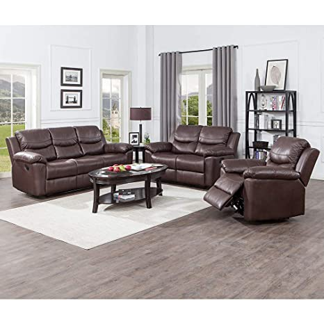Amazing Juntoso 3 Pieces Recliner Sofa Sets Bonded Leather Lounge Chair Loveseat Reclining Couch For Living Room Chocolate Andrewgaddart Wooden Chair Designs For Living Room Andrewgaddartcom