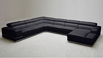 wynn black leather sectional sofa with adjustable headrests right chaise