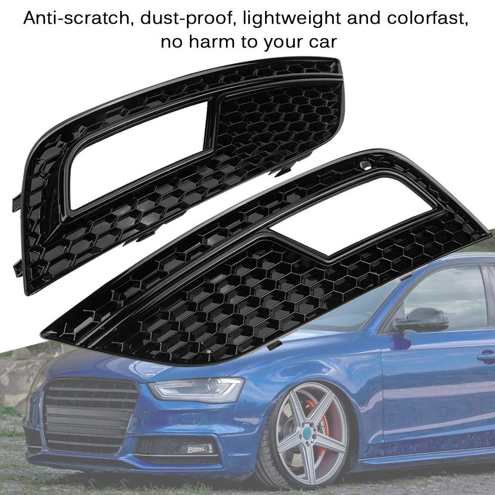 Terisass Car Front Bumper Fog Light Grilles Glossy Black 2Pcs for A4 B8.5 Facelift Standard Bumpers 2013 2014 2015 2016