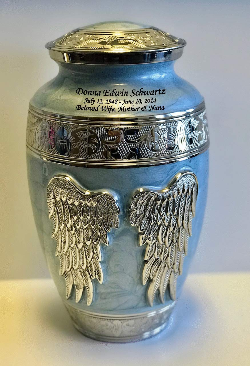 Angel Wings Blue Mother of Pearl Brass Funeral Cremation Urn, Adult Memorial Ash Urn with Personalisation