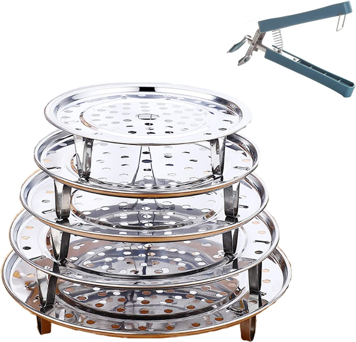 "Brainver 5pcs Stainless Steel Steamer Rack, Multi-Purpose Round Canning Rack Cooling Rack with Detachable Legs for Baking.Cooking, Steaming, Lifting Pressure Cooker.(7"" 8"" 8.8"" 9.5"" 10.23'' Inch)"