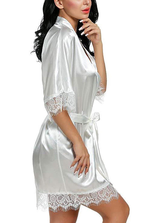Elonglin Peignoir Satin Robe de Chambre Kimono Femme Robe de Nuit Sortie de Bain Nuisette D/éshabill/é V/êtements de Nuit Lingerie Dentelle Robes de Mari/ée Cadeau pour la f/ête Mariage Pyjama Party