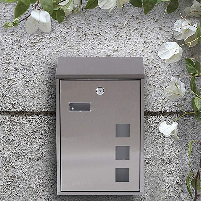 Yxsd Stainless Steel Wall Mounted Mail Letter Post Box Mailbox A4 Outdoor Lockable Waterproof with Newspaper Holder