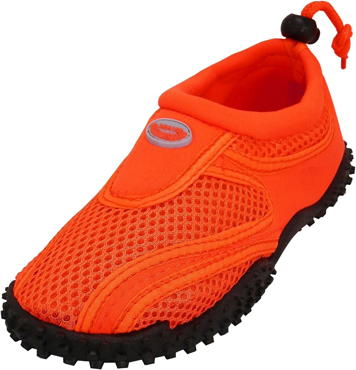 ,2 M US Little Kid,Neon Orange Toddler//Little Kid//Big Kid Cambridge Select Kids Mesh Quick Dry Slip-On Drawstring Non-Slip Water Shoe