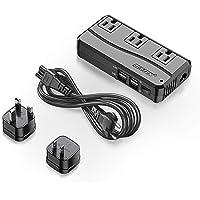 BESTEK Universal Travel Adapter 220V to 110V Voltage Converter with 6A 4-Port USB Charging and UK/AU/US/EU Worldwide Plug Adapter (Black)