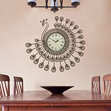 Amazoncom Vinyl Christmas Wall Decal Peacock Wall Sticker Clock