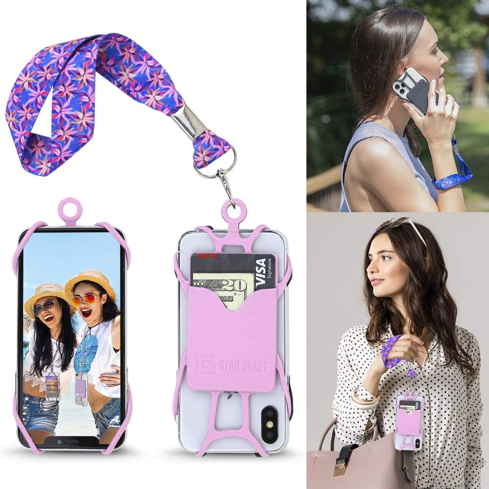 Galaxy /& Most Smartphones with or Without Phone Cases Gear Beast Cell Phone Wrist Strap Lanyard Safety Tether and Mobile Phone Holder with Card Pocket Compatible with iPhone
