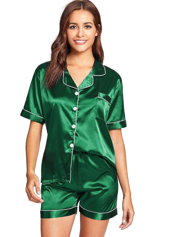 Floerns Women's Notch Collar Shorts Loose Sleepwear Two Piece Pajama Set