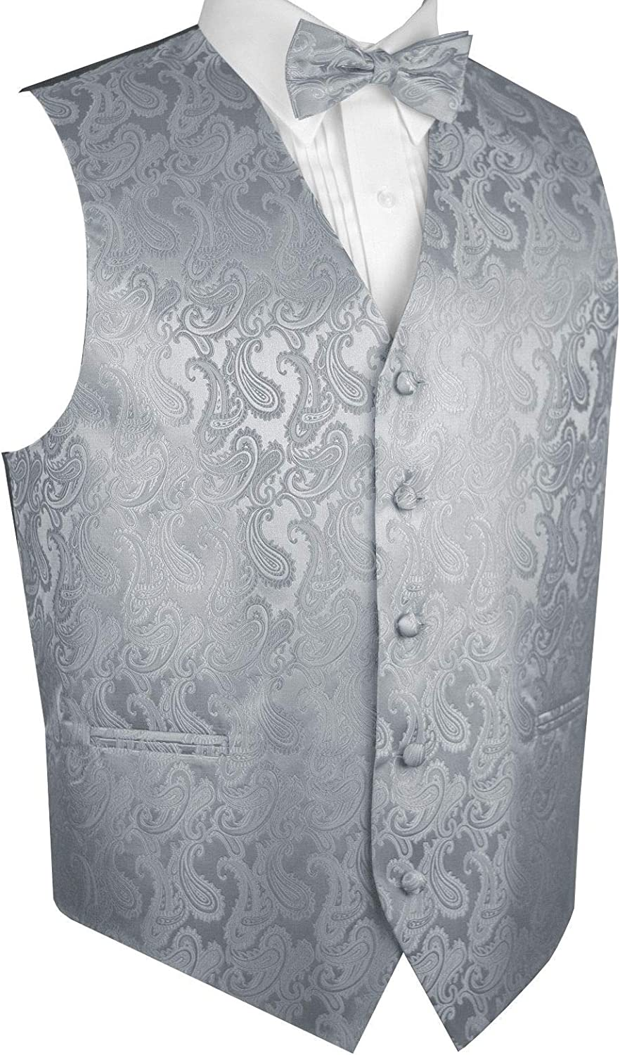 Men/'s Paisley Peach Polyester Tuxedo Vest with Self Tie 2.5 Necktie for Formal Occasions