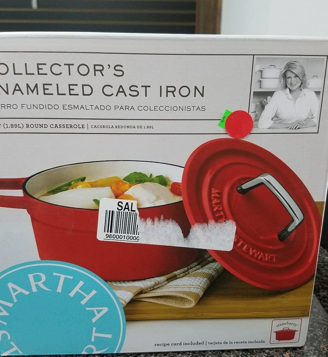 Martha Stewart Collection Collectors STRAWBERRY Enameled Cast Iron 6 Qt Round Casserole Dutch Oven