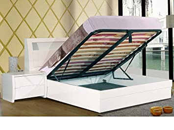 Incredible Heartlands Tanya White High Gloss Storage Double Bed Frame Ocoug Best Dining Table And Chair Ideas Images Ocougorg