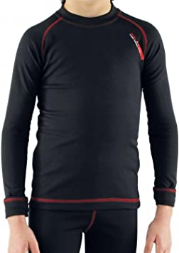 Camiseta térmica para niño de manga larga, ideal para deportes de invierno o situaciones de frío y humedad. Con aislante térmico, transpirable, ligera y confortable. EFECTO THERMAL. (Neg/Roj, 16-18): Amazon.es: Deportes y