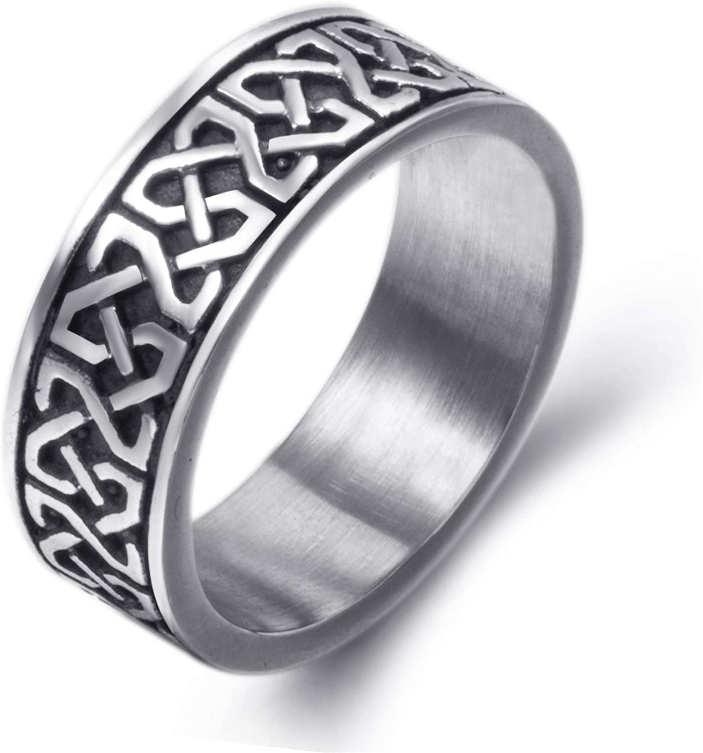 Elfasio 8mm Men Celtic Knot Stainless Steel Ring Band Vintage Jewelry US Size 8-15