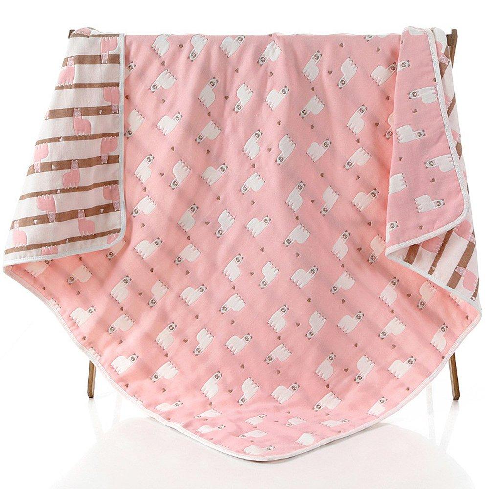 Baby Gauze Blanket/Comforter/Swaddle, Boys and Girls Comforter 100% Muslin Cotton 6 Layered Crib Dream Blankets for Newborn Toddler Kids (Alpaca Pink)