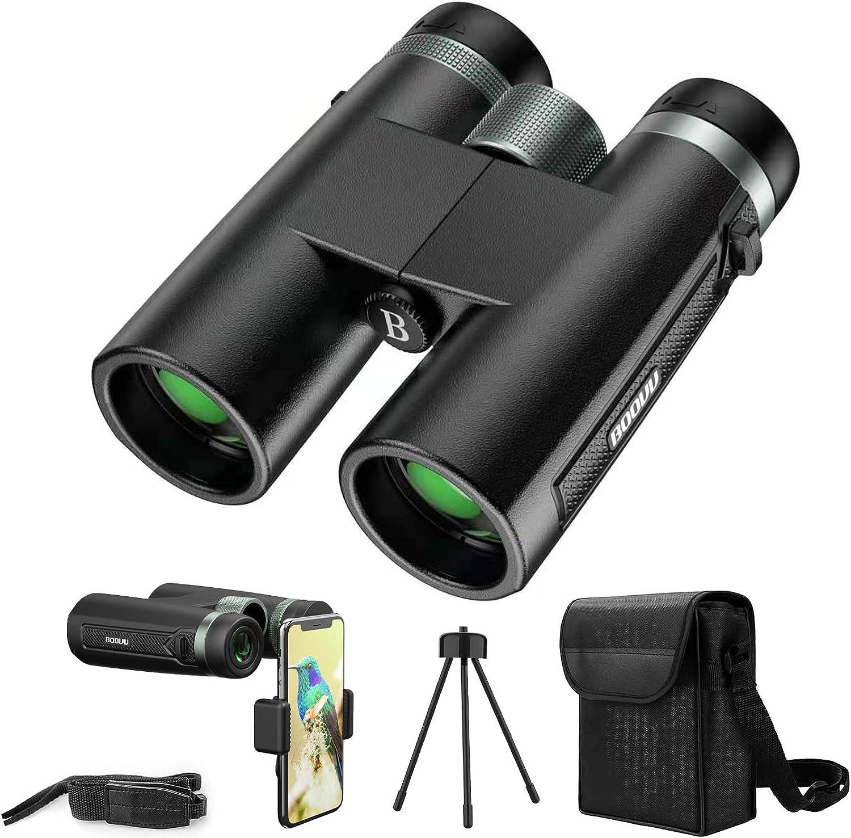 Prismáticos Profesionales, BOOVV 12x42 HD Binoculares Vision Nocturna con Prismas BaK4 y FMC, Adaptador de Teléfono, Ideales para Observación de Aves, Caza, Senderismo, Camping y Evento Deportivo