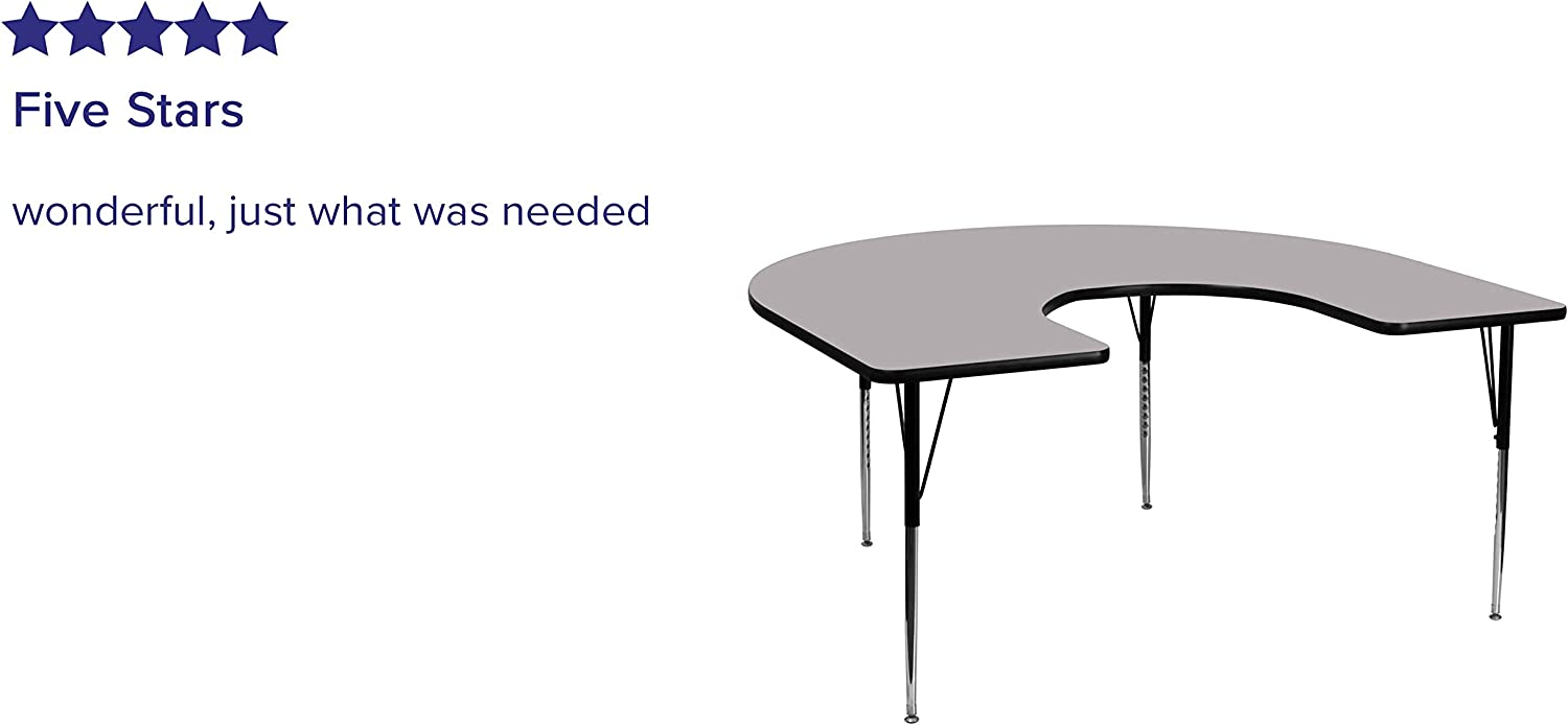 Creative Colors 60 x 66 Scalloped Horseshoe Activity Table with Gray Nebula Top Standard Leg Height: 21-30 Sour Apple Edge Ball Glide