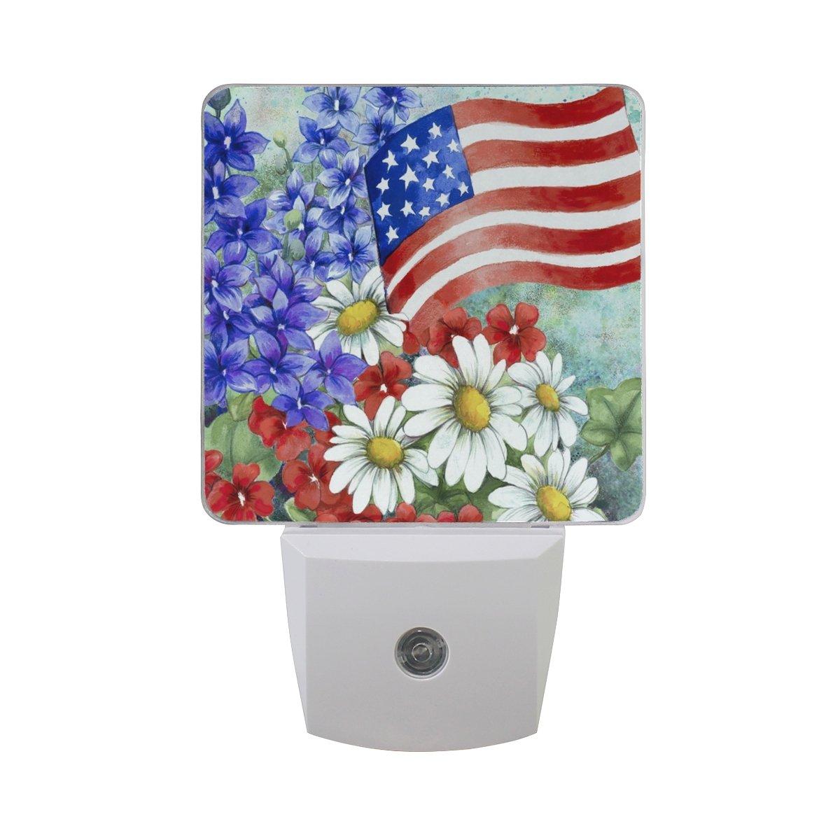 2 Pack Plug-in Night Light LED Lamp America Summer Flower Printing with Dusk to Dawn Sensor for Bedroom, Bathroom, Hallway, Stairways, 0.5W by DIY.HD
