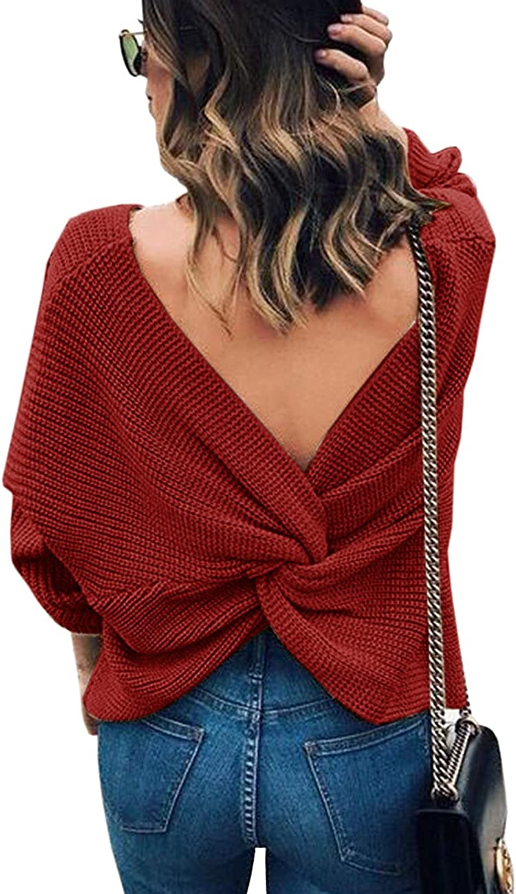 Sexyshine Womens Casual V Neck Criss Cross Backless Long Batwing Sleeve Loose Knitted Sweater Pullovers