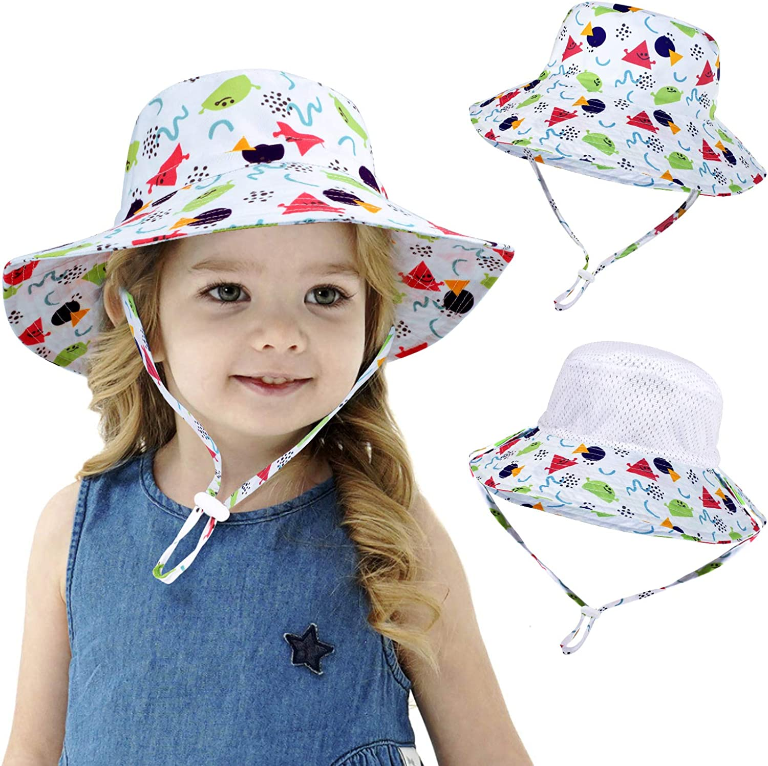 Baby Boys Bucket Hat Cap Summer Toddler Kids Stars Sun Hat Wide Brim 100/% Cotton