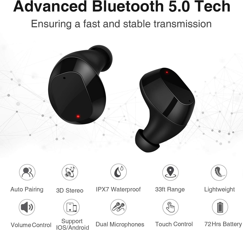 Auriculares Inal/ámbricos Bluetooth 5.0 con Micr/ófono 3D Est/éreo y Estuche de Carga port/átil para iOS Android PC Sport,Support Carga inalambrica Blanco-33 2019 Nuevo Toque Auriculares Bluetooth